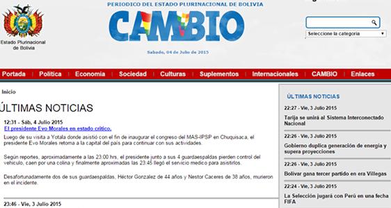 Hackean p gina web de peri dico 39 cambio 39 y difunden for Pagina web ministerio interior