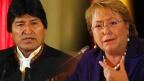 Presidente Evo Morales y su homóloga de Chile, Michelle Bachelet,