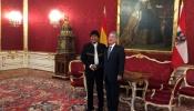 Presidente Evo Morales junto a presidente Fischer de Austria