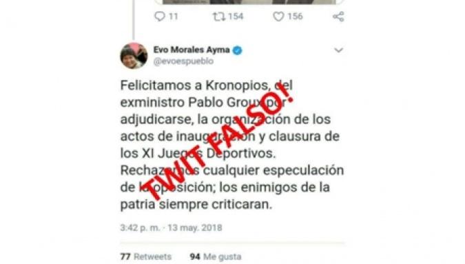Resultado de imagen para Denuncian mensajes falsos en Twitter atribuidos a Evo Morales