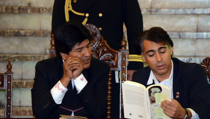 Presidente Evo Morales con político chileno